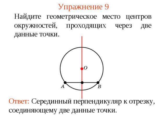 Упражнение 9Найдите геометрическое место центров окружностей, проходящих через две данные точки.Ответ: Серединный перпендикуляр к отрезку, соединяющему две данные точки.