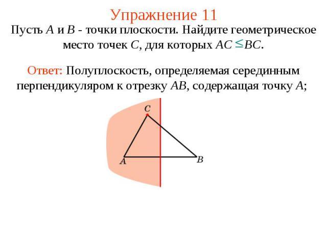 Упражнение 11Пусть А и В - точки плоскости. Найдите геометрическое место точек С, для которых АС ВС.Ответ: Полуплоскость, определяемая серединным перпендикуляром к отрезку AB, содержащая точку A;