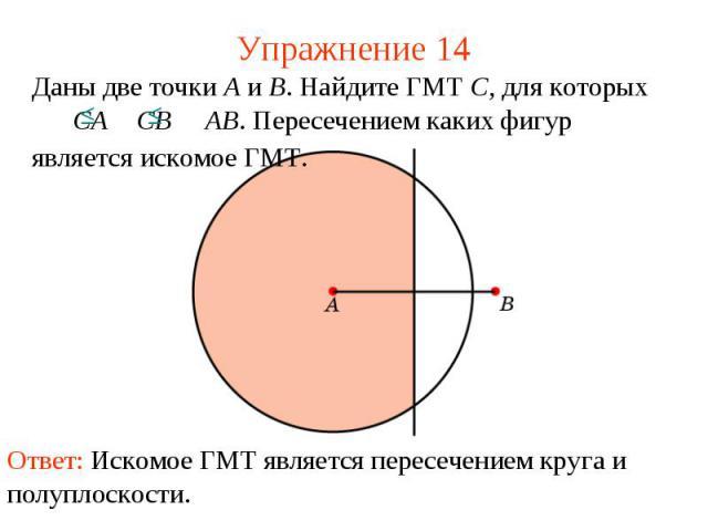 Упражнение 14Даны две точки A и B. Найдите ГМТ C, для которых CA CB AB. Пересечением каких фигур является искомое ГМТ.Ответ: Искомое ГМТ является пересечением круга и полуплоскости.
