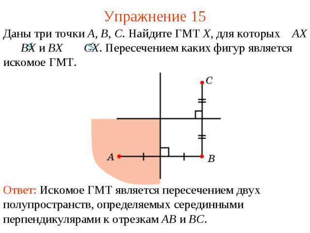 Упражнение 15Даны три точки A, B, C. Найдите ГМТ X, для которых AX BX и BX CX. Пересечением каких фигур является искомое ГМТ.Ответ: Искомое ГМТ является пересечением двух полупространств, определяемых серединными перпендикулярами к отрезкам AB и BC.