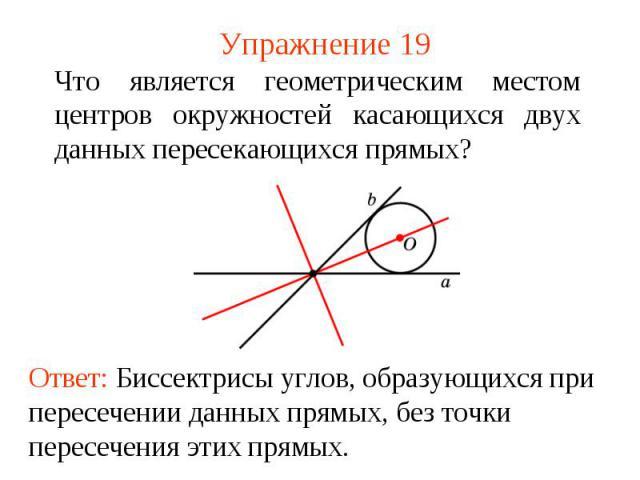Упражнение 19Что является геометрическим местом центров окружностей касающихся двух данных пересекающихся прямых?Ответ: Биссектрисы углов, образующихся при пересечении данных прямых, без точки пересечения этих прямых.