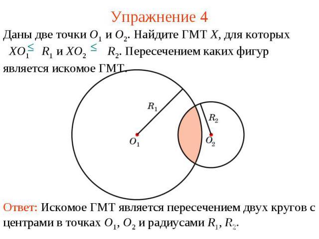 Упражнение 4Даны две точки O1 и O2. Найдите ГМТ X, для которых XO1 R1 и XO2 R2. Пересечением каких фигур является искомое ГМТ.Ответ: Искомое ГМТ является пересечением двух кругов с центрами в точках O1, O2 и радиусами R1, R2.