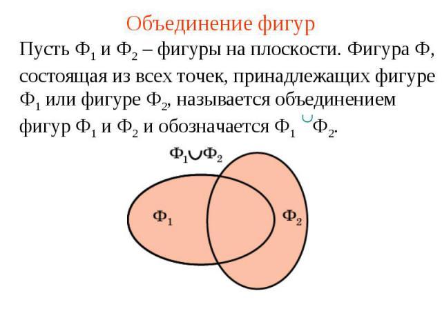 Объединение фигурПусть Ф1 и Ф2 – фигуры на плоскости. Фигура Ф, состоящая из всех точек, принадлежащих фигуре Ф1 или фигуре Ф2, называется объединением фигур Ф1 и Ф2 и обозначается Ф1 Ф2.
