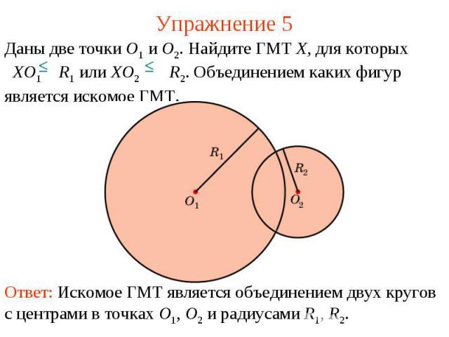 Упражнение 5Даны две точки O1 и O2. Найдите ГМТ X, для которых XO1 R1 или XO2 R2. Объединением каких фигур является искомое ГМТ.Ответ: Искомое ГМТ является объединением двух кругов с центрами в точках O1, O2 и радиусами R1, R2.