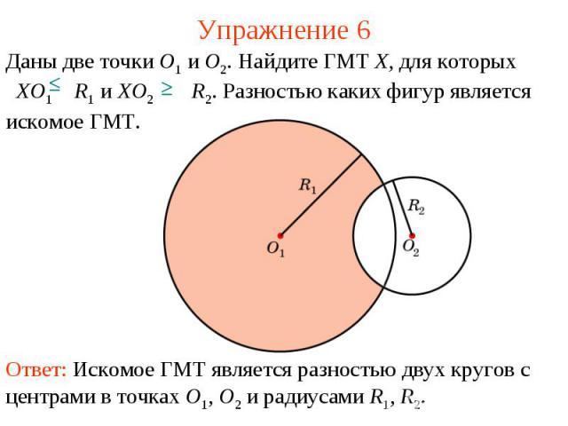 Упражнение 6Даны две точки O1 и O2. Найдите ГМТ X, для которых XO1 R1 и XO2 R2. Разностью каких фигур является искомое ГМТ.Ответ: Искомое ГМТ является разностью двух кругов с центрами в точках O1, O2 и радиусами R1, R2.