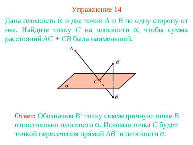 Упражнение 14Дана плоскость и две точки A и B по одну сторону от нее. Найдите точку C на плоскости , чтобы сумма расстояний AC + CB была наименьшей.Ответ: Обозначим B' точку симметричную точке B относительно плоскости . Искомая точка C будет точкой …