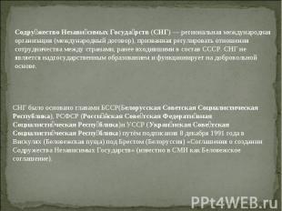 Содружество Независимых Государств (СНГ)— региональная международная организаци