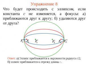 Упражнение 8Что будет происходить с эллипсом, если константа c не изменяется, а