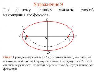 Упражнение 9По данному эллипсу укажите способ нахождения его фокусов.Ответ: Пров