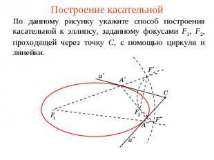 Построение касательнойПо данному рисунку укажите способ построения касательной к