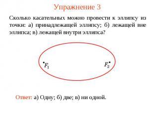 Упражнение 3Сколько касательных можно провести к эллипсу из точки: а) принадлежа