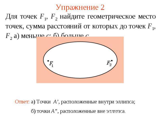 Упражнение 2Для точек F1, F2 найдите геометрическое место точек, сумма расстояний от которых до точек F1, F2 а) меньше c; б) больше c.