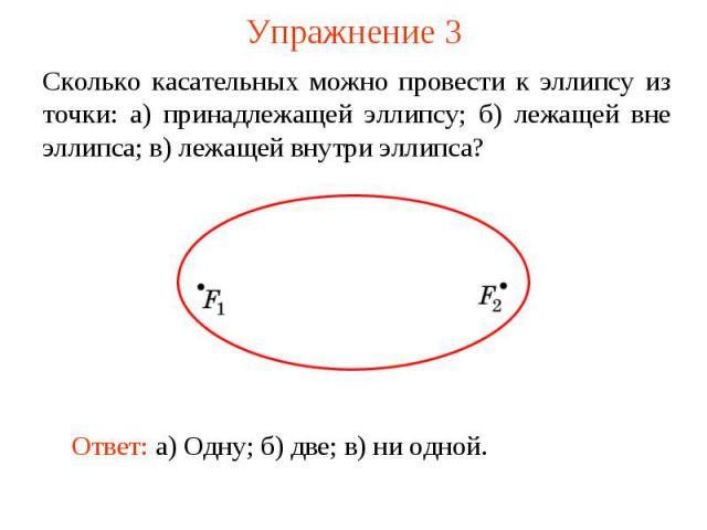 Упражнение 3Сколько касательных можно провести к эллипсу из точки: а) принадлежащей эллипсу; б) лежащей вне эллипса; в) лежащей внутри эллипса?