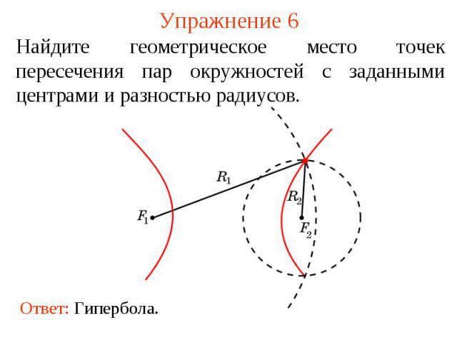 Упражнение 6Найдите геометрическое место точек пересечения пар окружностей с заданными центрами и разностью радиусов.