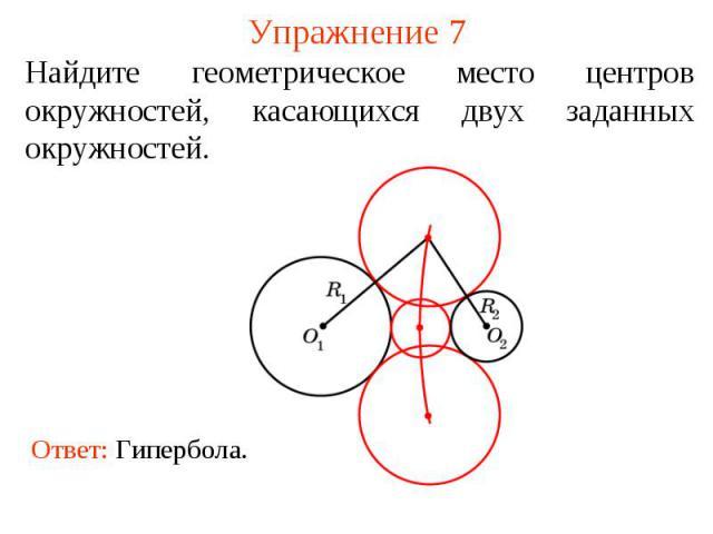 Упражнение 7Найдите геометрическое место центров окружностей, касающихся двух заданных окружностей.
