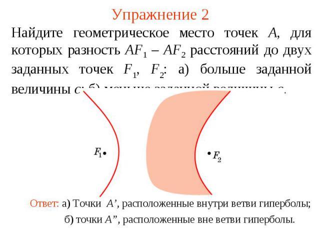Упражнение 2Найдите геометрическое место точек A, для которых разность AF1 – AF2 расстояний до двух заданных точек F1, F2: а) больше заданной величины c; б) меньше заданной величины c.Ответ: а) Точки A', расположенные внутри ветви гиперболы;б) точки…