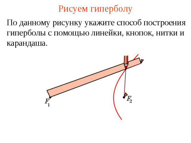 Рисуем гиперболуПо данному рисунку укажите способ построения гиперболы с помощью линейки, кнопок, нитки и карандаша.