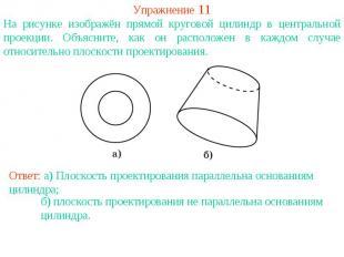 Упражнение 11На рисунке изображён прямой круговой цилиндр в центральной проекции
