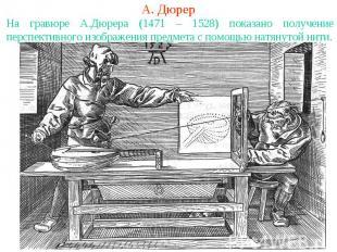 А. ДюрерНа гравюре А.Дюрера (1471 – 1528) показано получение перспективного изоб