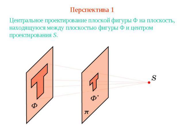 Перспектива 1Центральное проектирование плоской фигуры Ф на плоскость, находящуюся между плоскостью фигуры Ф и центром проектирования S.
