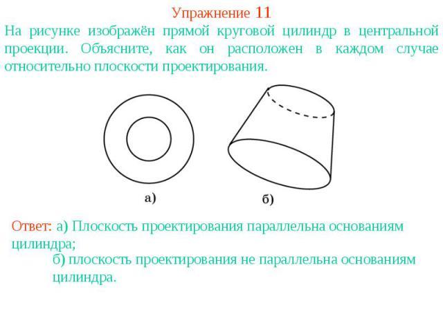 Упражнение 11На рисунке изображён прямой круговой цилиндр в центральной проекции. Объясните, как он расположен в каждом случае относительно плоскости проектирования.Ответ: а) Плоскость проектирования параллельна основаниям цилиндра;б) плоскость прое…