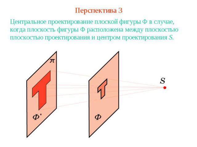Перспектива 3Центральное проектирование плоской фигуры Ф в случае, когда плоскость фигуры Ф расположена между плоскостью плоскостью проектирования и центром проектирования S.