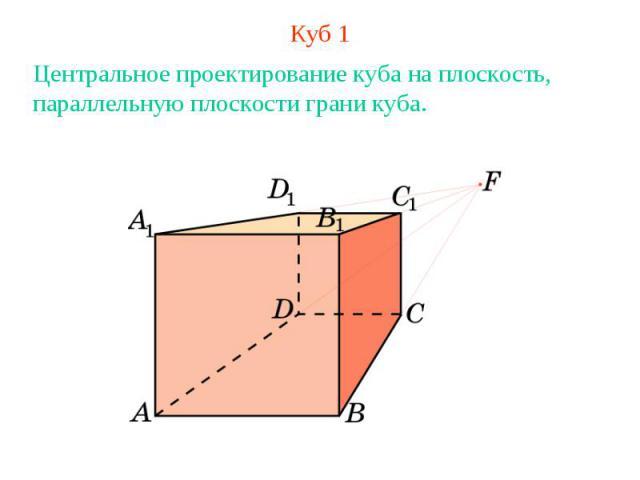 Куб 1Центральное проектирование куба на плоскость, параллельную плоскости грани куба.