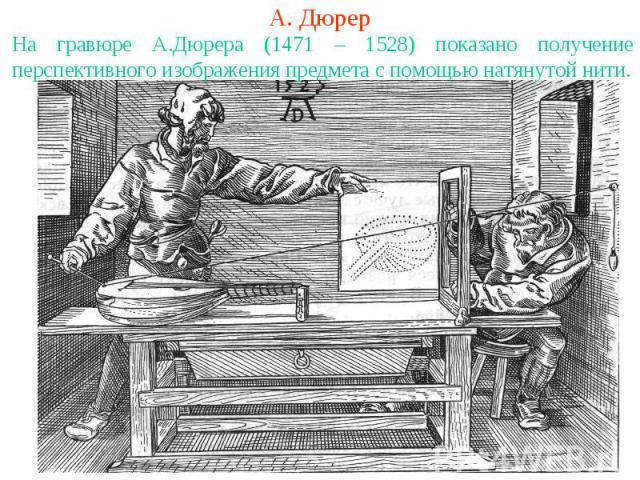 А. ДюрерНа гравюре А.Дюрера (1471 – 1528) показано получение перспективного изображения предмета с помощью натянутой нити.