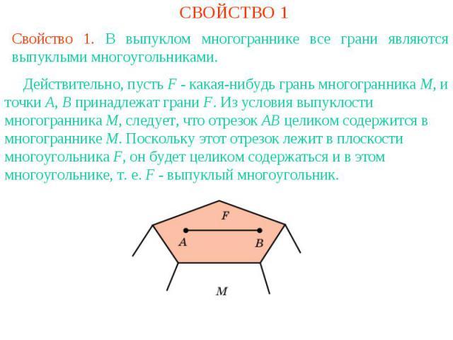 СВОЙСТВО 1Свойство 1. В выпуклом многограннике все грани являются выпуклыми многоугольниками. Действительно, пусть F - какая-нибудь грань многогранника M, и точки A, B принадлежат грани F. Из условия выпуклости многогранника M, следует, что отрезок …
