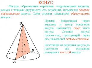 КОНУС Фигура, образованная отрезками, соединяющими вершину конуса с точками окру