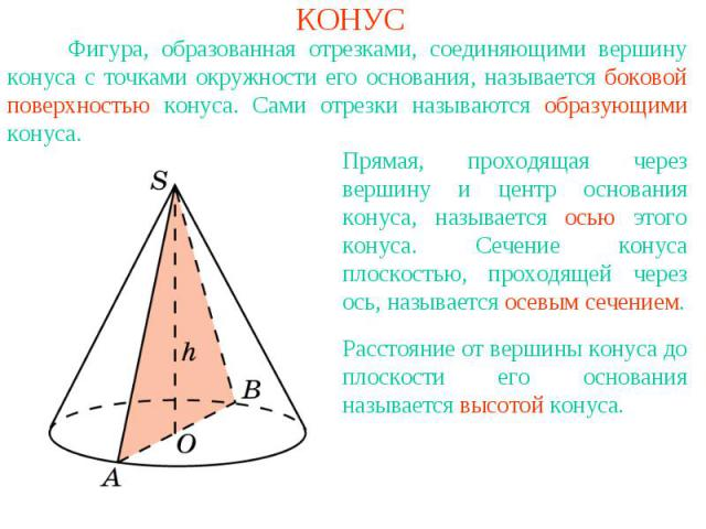 КОНУС Фигура, образованная отрезками, соединяющими вершину конуса с точками окружности его основания, называется боковой поверхностью конуса. Сами отрезки называются образующими конуса.Прямая, проходящая через вершину и центр основания конуса, назыв…