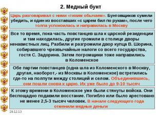2. Медный бунтЦарь разговаривал с ними «тихим обычаем». Бунтовщиков сумели убеди