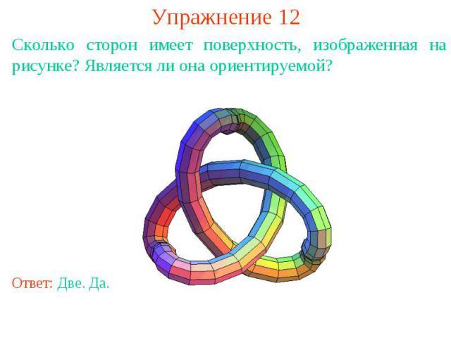 Упражнение 12Сколько сторон имеет поверхность, изображенная на рисунке? Является ли она ориентируемой?