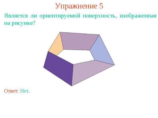 Упражнение 5Является ли ориентируемой поверхность, изображенная на рисунке?