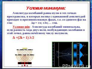 Условие минимума:Амплитуда колебаний равна нулю в тех точках пространства, в кот