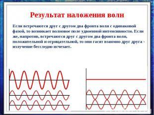 Результат наложения волнЕсли встречаются друг с другом два фронта волн с одинако