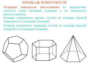 ПЛОЩАДЬ ПОВЕРХНОСТИПлощадью поверхности многогранника по определению считается с