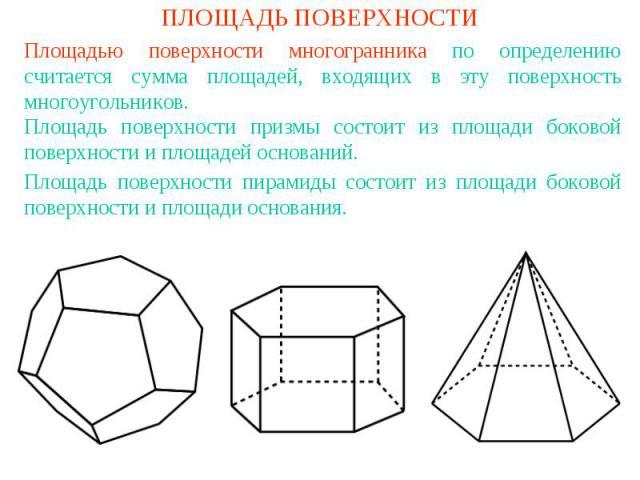 ПЛОЩАДЬ ПОВЕРХНОСТИПлощадью поверхности многогранника по определению считается сумма площадей, входящих в эту поверхность многоугольников.Площадь поверхности призмы состоит из площади боковой поверхности и площадей оснований.Площадь поверхности пира…