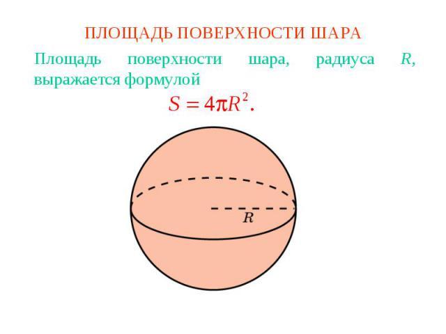 ПЛОЩАДЬ ПОВЕРХНОСТИ ШАРАПлощадь поверхности шара, радиуса R, выражается формулой