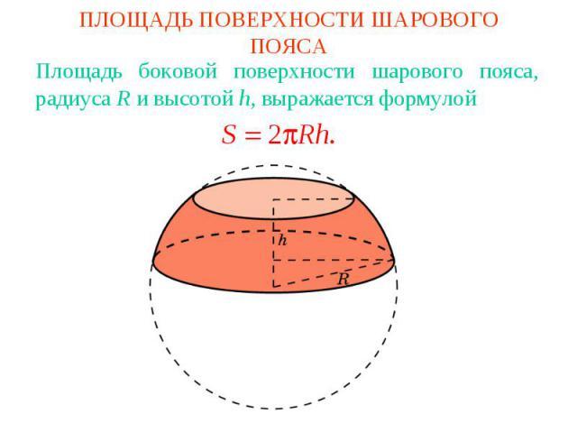ПЛОЩАДЬ ПОВЕРХНОСТИ ШАРОВОГО ПОЯСАПлощадь боковой поверхности шарового пояса, радиуса R и высотой h, выражается формулой