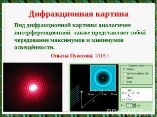 Дифракционная картинаВид дифракционной картины аналогичен интерференционной такж