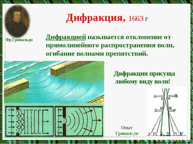 Дифракция, 1663 гДифракцией называется отклонение от прямолинейного распространения волн, огибание волнами препятствий. Дифракция присуща любому виду волн!