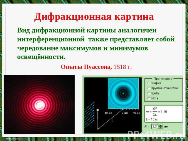 Дифракционная картинаВид дифракционной картины аналогичен интерференционной также представляет собой чередование максимумов и минимумов освещённости.