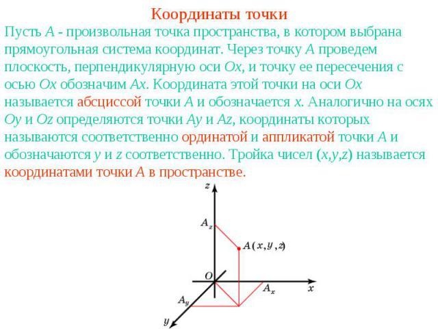 Координаты точкиПусть A - произвольная точка пространства, в котором выбрана прямоугольная система координат. Через точку A проведем плоскость, перпендикулярную оси Ox, и точку ее пересечения с осью Ox обозначим Ax. Координата этой точки на оси Ox н…