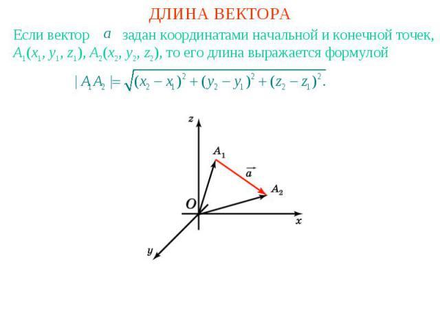 ДЛИНА ВЕКТОРАЕсли вектор задан координатами начальной и конечной точек, A1(x1, y1, z1), A2(x2, y2, z2), то его длина выражается формулой