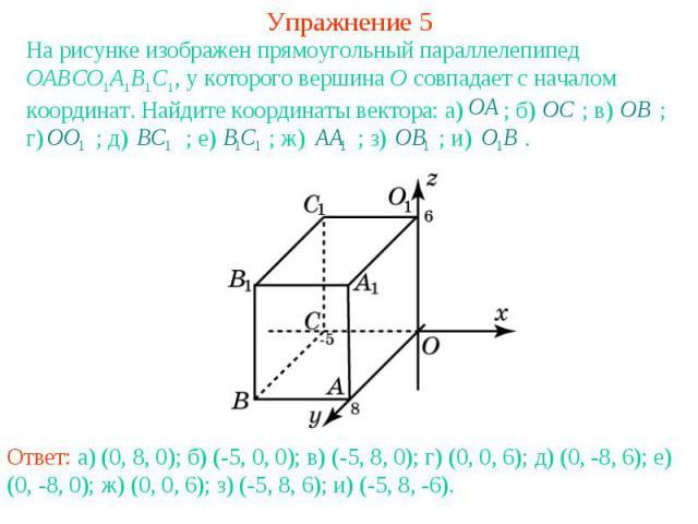 Упражнение 5На рисунке изображен прямоугольный параллелепипед OABCO1A1B1C1, у которого вершина O совпадает с началом координат. Найдите координаты вектора: а) ; б) ; в) ; г) ; д) ; е) ; ж) ; з) ; и) .
