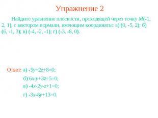 Упражнение 2 Найдите уравнение плоскости, проходящей через точку M(-1, 2, 1), с