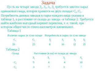 Задача Пусть на четыре завода З1, З2, З3, З4 требуется завезти сырье одинакового