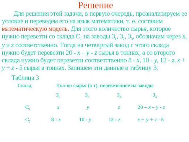 Решение Для решения этой задачи, в первую очередь, проанализируем ее условие и переведем его на язык математики, т. е. составим математическую модель. Для этого количество сырья, которое нужно перевезти со склада С1 на заводы З1, З2, З3, обозначим ч…