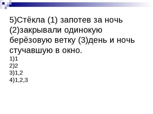 5)Стёкла (1) запотев за ночь (2)закрывали одинокую берёзовую ветку (3)день и ночь стучавшую в окно.1)12)23)1,24)1,2,3